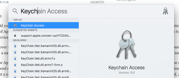 Opening Keychain Access with Spotlight