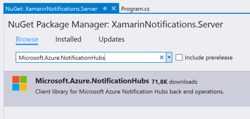 Microsoft.Azure.NotificationHubs NuGet package