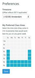 Choosing preferred time slots