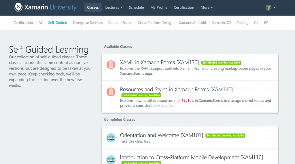 Xamarin University Tracks