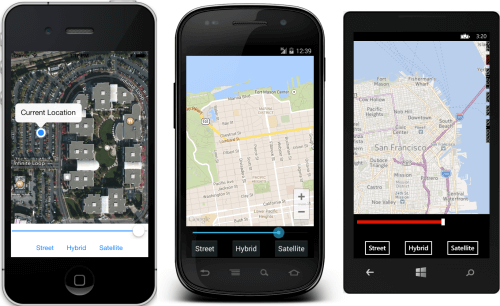 Xamarin.Forms.Maps sample (image by Xamarin)