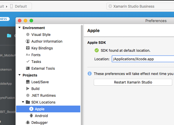 Xamarin Studio iOS SDK configuration