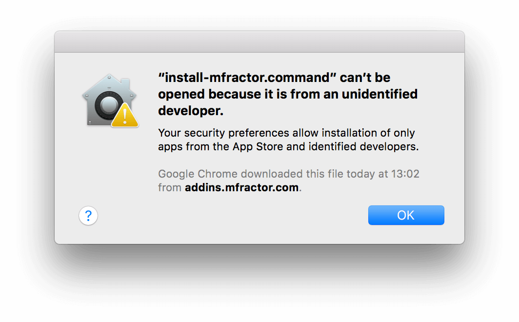 Trusted Developer installation alert
