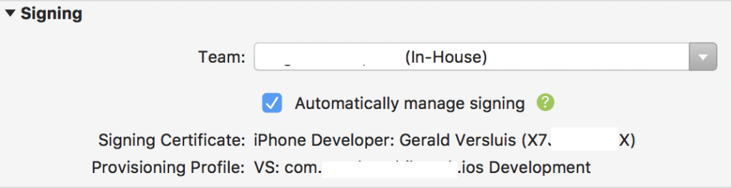 Enable automatic signing of your iOS app
