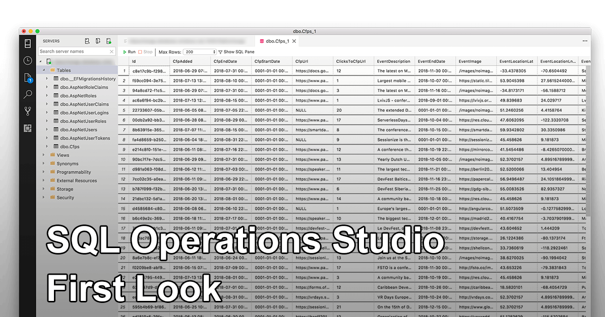 SQL Operations Studio First Look