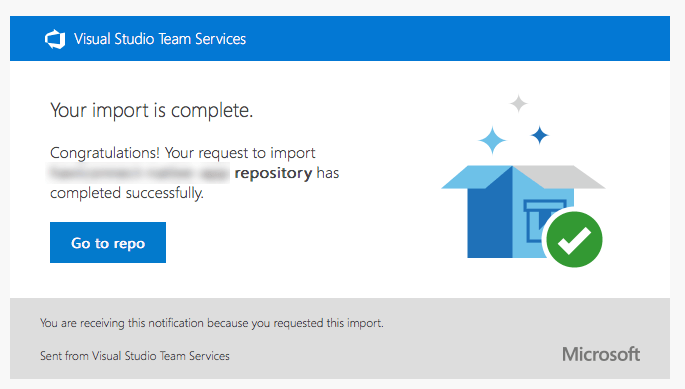 Successfully imported the Bitbucket repo into VSTS