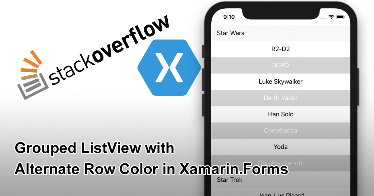 Grouped ListView with Alternate Row Color in Xamarin.Forms