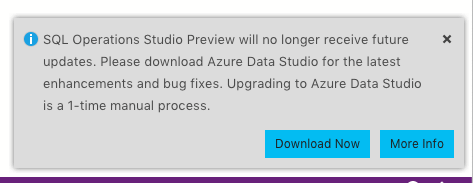 Azure Data Studio upgrade notice