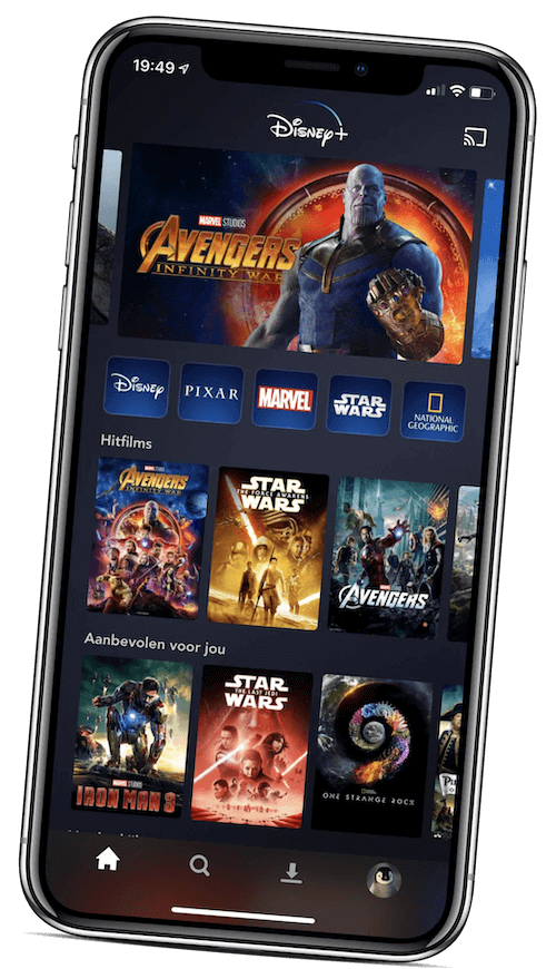 Disney+ App with Carousels