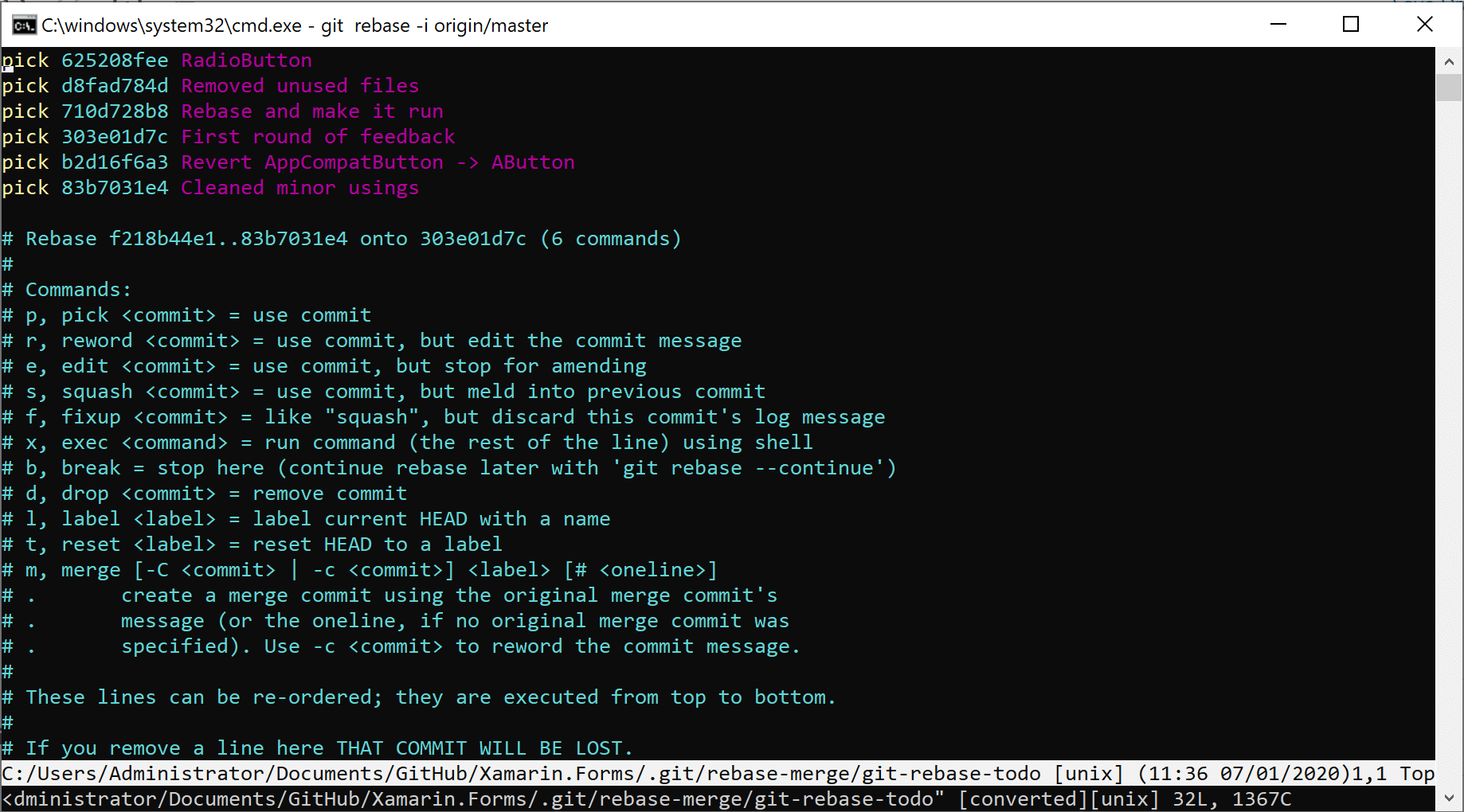 Vim editor showing the commits we want to git rebase