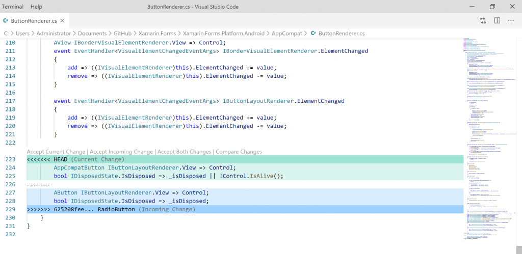 VS Code window showing the actual conflict