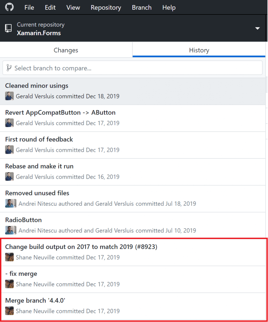 Screenshot of the commit history for the RadioButton branch