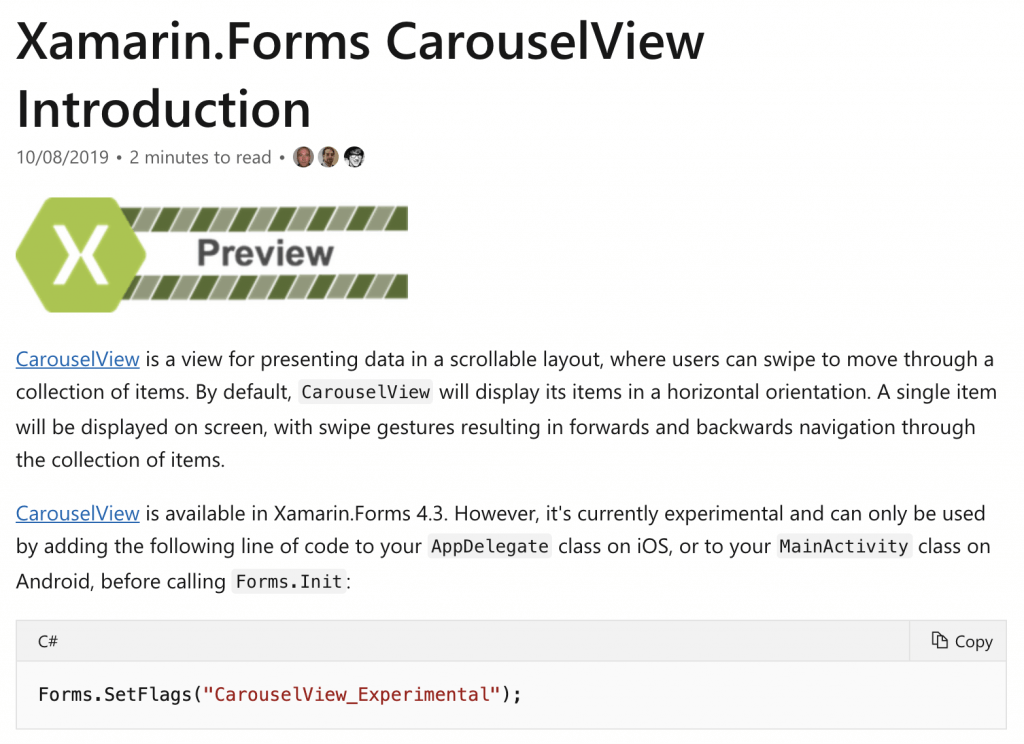 CarouselView Docs page showing the Preview badge and Experimental Flag description