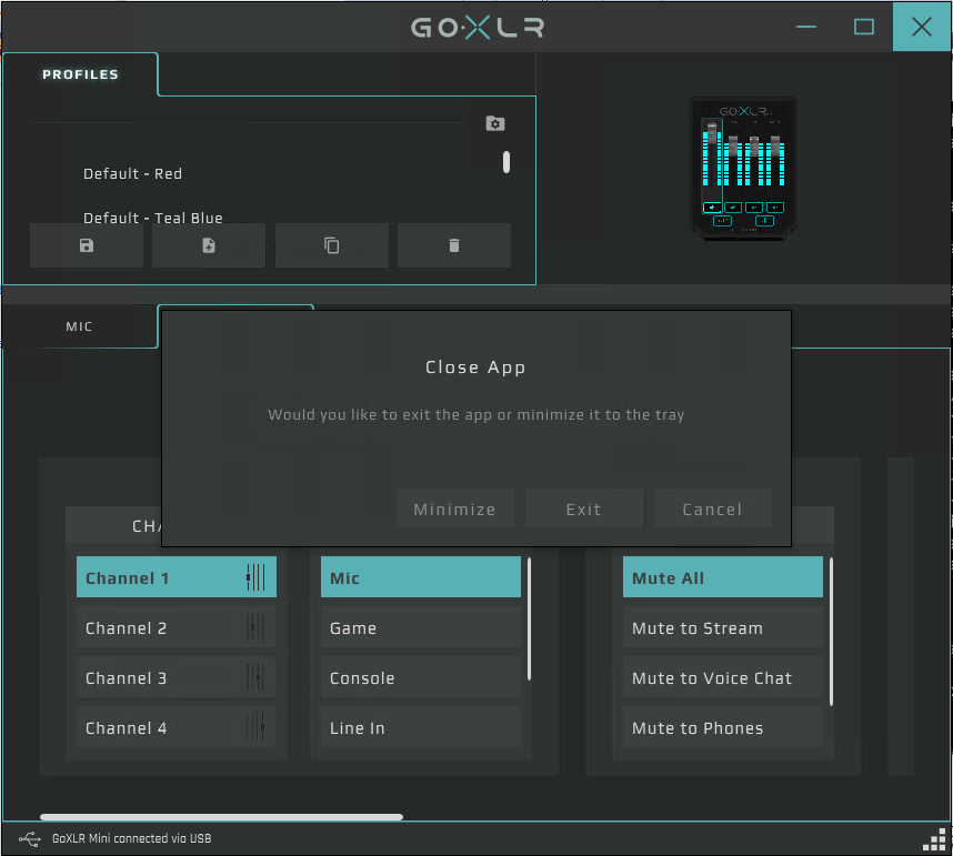 GoXLR App user interface screenshot